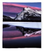 Sunset Mount Rundle Fleece Blanket