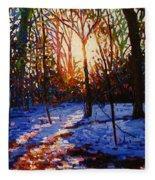 Sunset On Snow Fleece Blanket