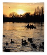 Sunset On The Thames At Walton Fleece Blanket