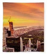 Sunset Over Central Park And The New York City Skyline Fleece Blanket