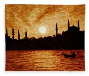 Sunset Over Istanbul Original Coffee Painting Fleece Blanket