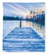 Sunset Over Lake Wylie At A Dock Fleece Blanket