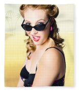 Surprised Pinup Girl On Tropical Beach Background Fleece Blanket