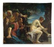 Susanna And The Elders Fleece Blanket