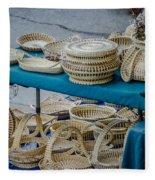 Charleston Sc Sweet Grass Basket Stand Fleece Blanket