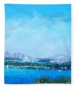 Sydney Harbour And The Opera House Cityscape View Fleece Blanket