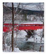 Taftsville Covered Bridge Fleece Blanket