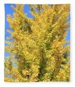 Tall Ginkgo Tree Fleece Blanket