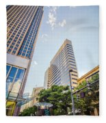 Tall Highrise Buildings In Uptown Charlotte Near Blumenthal Perf Fleece Blanket