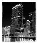 Tampa Black And White  Fleece Blanket