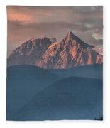 Tantalus Mountain Sunset - British Columbia Fleece Blanket