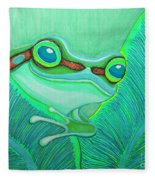 Teal Frog Fleece Blanket