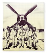 Test Pilots With P-47 Thunderbolt Fighter Fleece Blanket