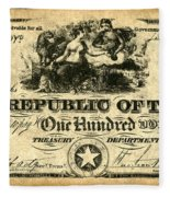 Texas Banknote, 1839 Fleece Blanket