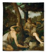 Adam And Eve After The Expulsion From Paradise Fleece Blanket