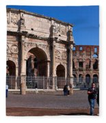 The Arch Of Constantine And Colosseum Fleece Blanket