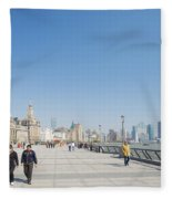 The Bund In Shanghai China Fleece Blanket