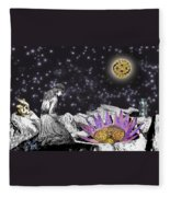 The Clock's Petals Open Fleece Blanket
