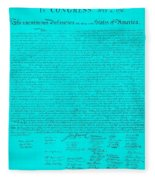 The Declaration Of Independence In Turquoise Fleece Blanket