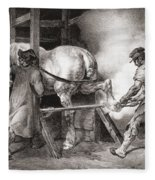 The Farrier, From Etudes De Cheveaux Fleece Blanket