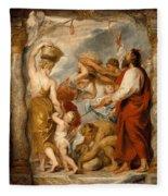 The Israelites Gathering Manna In The Desert Fleece Blanket
