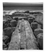 The Jetty In Black And White Fleece Blanket