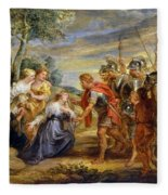 The Meeting Of David And Abigail Fleece Blanket