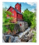 The Old Red Mill Jericho Vermont Fleece Blanket
