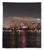 The Prudential Lit Up In Red White And Blue Fleece Blanket