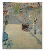 The Rue Mosnier With Flags Fleece Blanket