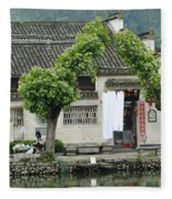 The South Lake In Hongcun Village Fleece Blanket