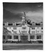 The Stanley Hotel Panorama Bw Fleece Blanket