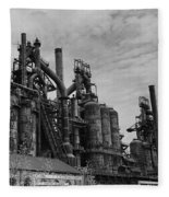 The Steel Mill In Black And White Fleece Blanket