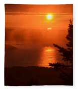 The Sunrise From Cadillac Mountain In Acadia National Park Fleece Blanket