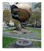 The W T C Plaza Fountain Sphere Fleece Blanket