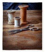 Thread And Scissors Fleece Blanket