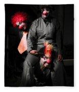 Three Clowns Having Fun Fleece Blanket