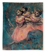 Three Dancers In Red Costume Fleece Blanket