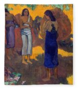 Three Tahitian Women Against A Yellow Background Fleece Blanket