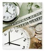 Time Is Money Concept Fleece Blanket