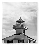 Top Of The New Canal Lighthouse - Bw Fleece Blanket