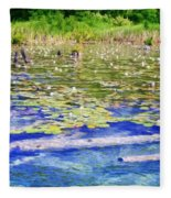 Torch River Water Lilies Fleece Blanket