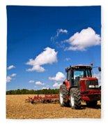 Tractor In Plowed Field Fleece Blanket