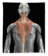 Trapezius Muscle With Skeleton Fleece Blanket
