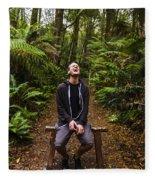 Travel Man Laughing In Tasmania Rainforest Fleece Blanket