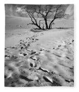 Tree Branch And Footprints On Sleeping Bear Dunes Fleece Blanket