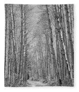 Trees Along A Road, Log Cabin Gold Fleece Blanket