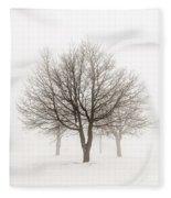 Trees In Winter Fog Fleece Blanket