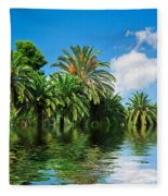 Tropical Exotic Jungle And Water Fleece Blanket