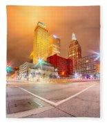 Tulsa City Skyline Around Downtown Streets Fleece Blanket